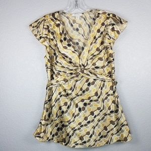 Dress Barn brown/cream print blouse